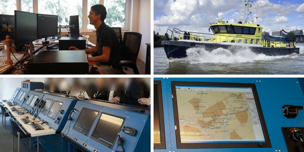 Collage of the simulator and ship