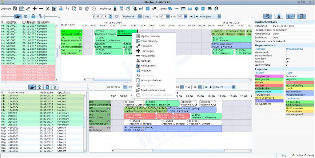 Screenhot van het iMOS planbord